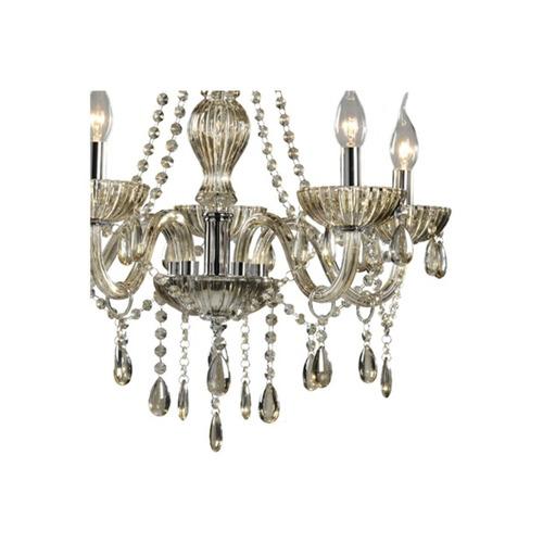 lustre glass em vidro champanhe  para 5 lâmpadas - hevvy