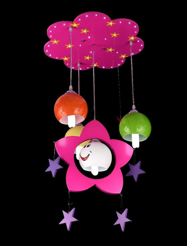 lustre infantil feminino estrelas pendente 4 lâmpadas e-27