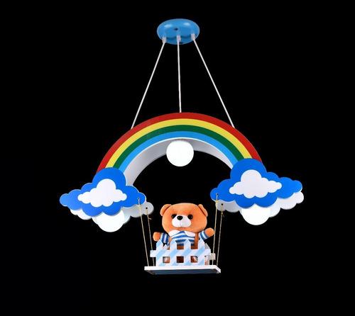 lustre infantil pendente ursinho marrom na cerca arco íris