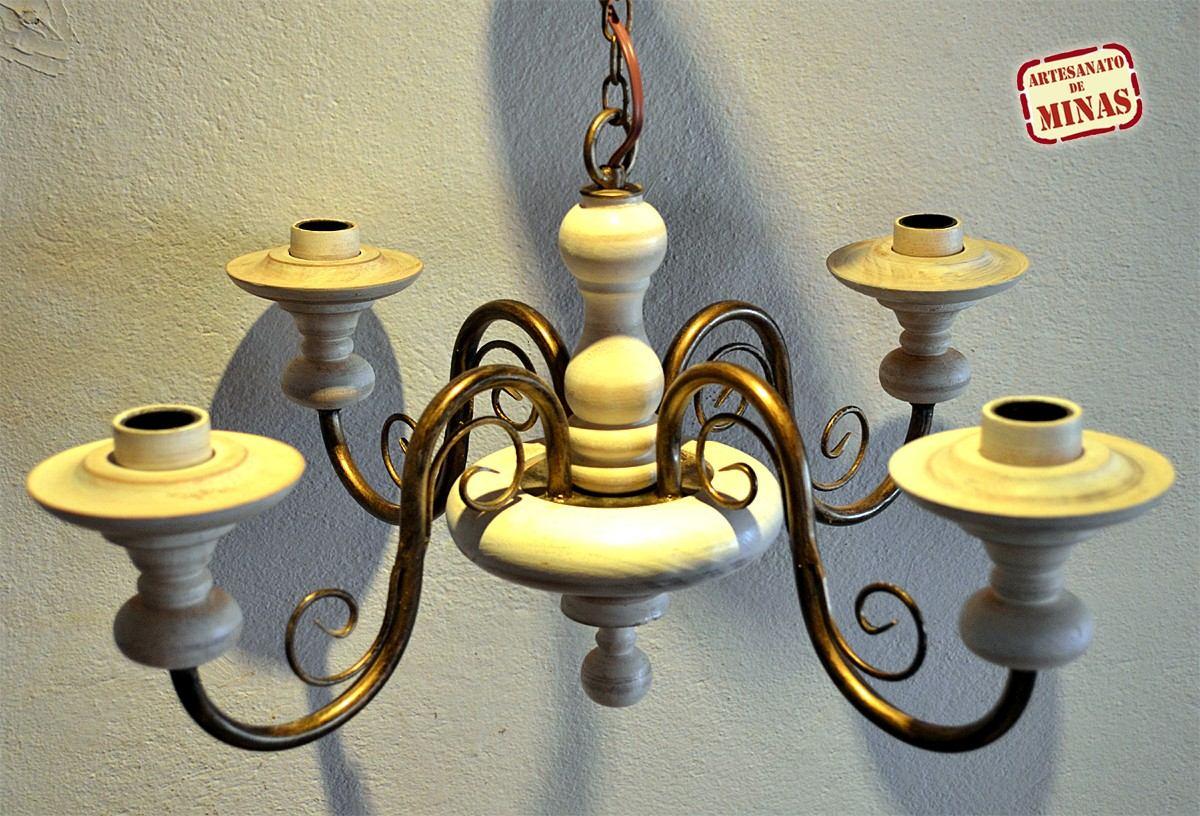 Aparador Moderno Para Sala De Jantar ~ Lustre Luminária Artesanal Em Ferro E Madeira Torneada R$ 375,00 em Mercado Livre