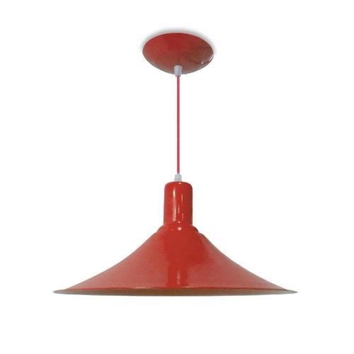 lustre luminaria chapéu chinês em alumínio vermelho