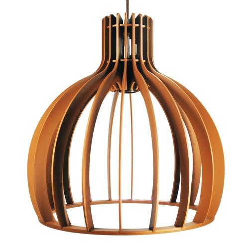 lustre luminária pendente de madeira c/ soquete e-27 de 35cm