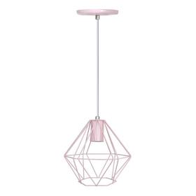 Lustre Luminária Pendente Diamante Rosa Moderno Bebê Teto