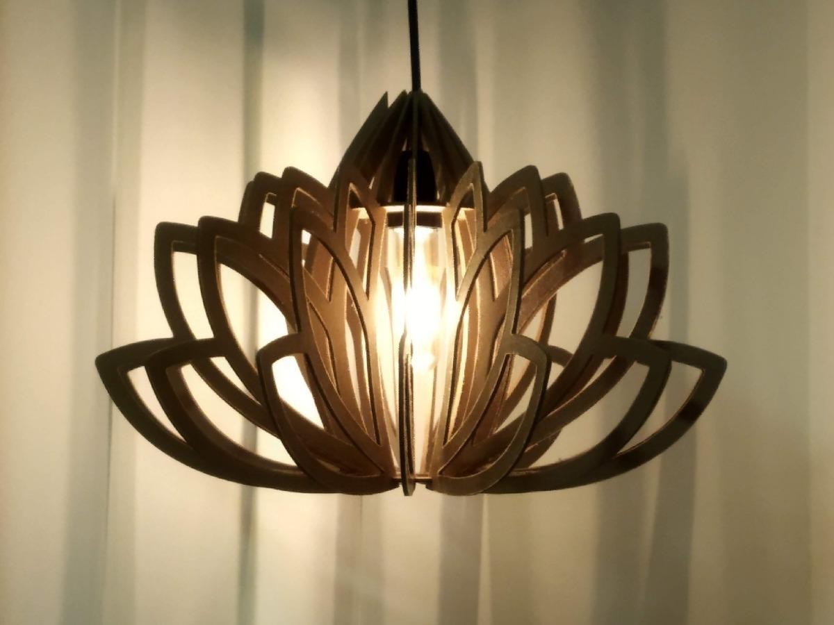 Lustre Luminária Pendente Em Mdf Flor De Lotus R$ 139,00 em Mercado Livre