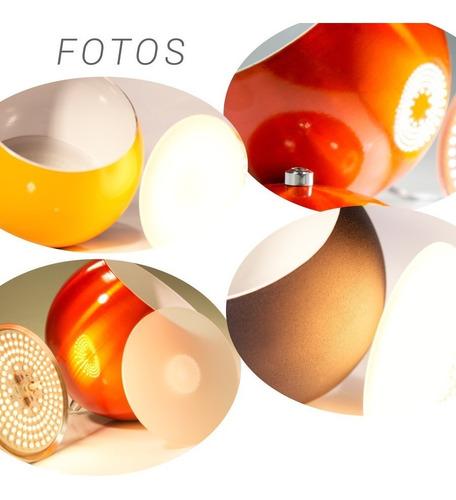 lustre luminária pendente meia bola de alumínio colorido