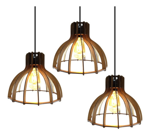 lustre luminaria pendente rustico madeira triplo 1,5m 007tp