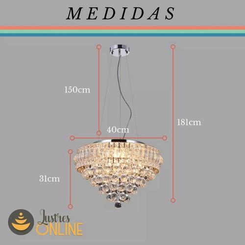 lustre luminaria sala cristal legítimo k9 40 cm fr. grátis