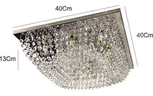 lustre paflon cristais legítimos aço inox 40cm