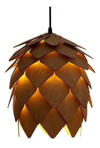 lustre pendente 100% em madeira - lupulo design escandinavo