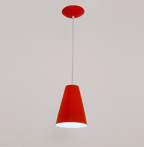 lustre pendente cadiz 1l- vermelho - auremar - varias cores