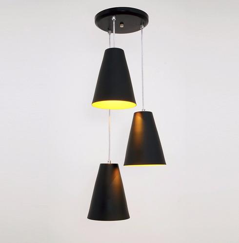 lustre pendente cadiz 3l - preto - auremar - varias cores