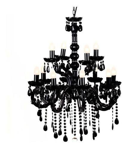 lustre pendente candelabro sala cozinha 12 braços preto