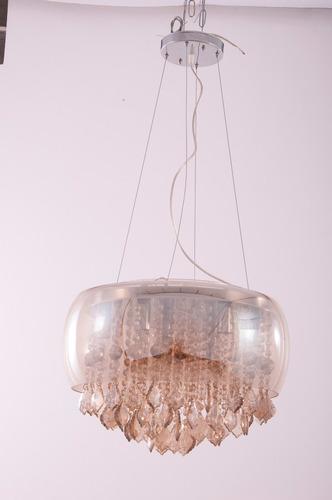 lustre - pendente chaia em vidro + cristais 6 lampadas