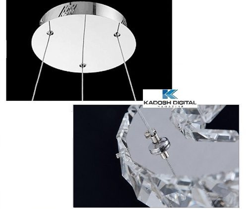 lustre pendente cristal k9 e inox led 3 anéis pronta entrega