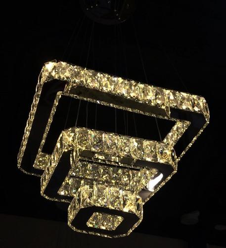 lustre pendente cristal k9 led 3 quadrados controle remoto