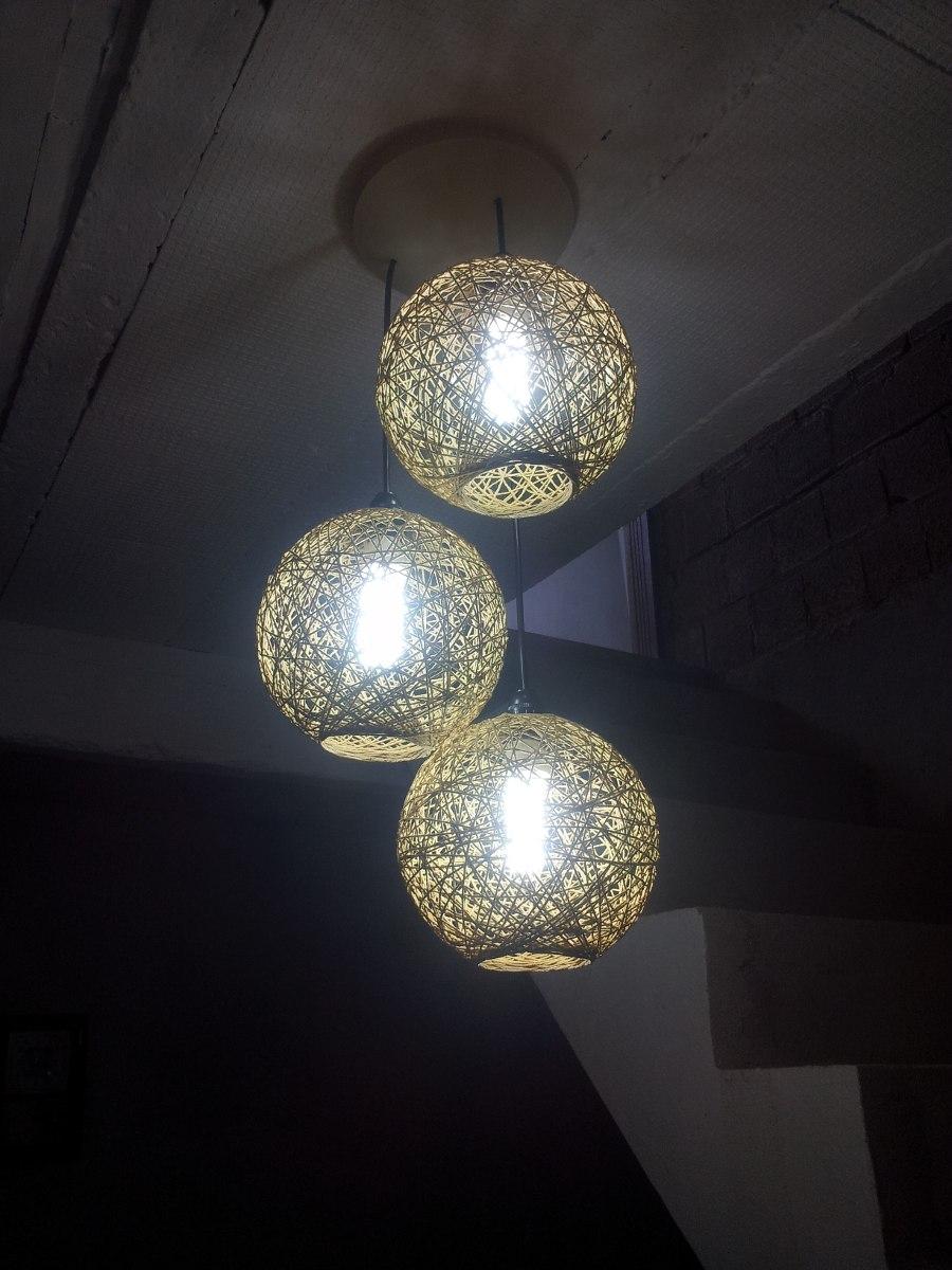Lustre Pendente De Barbante De 3 Lampadas Frete Gratis R 185 00