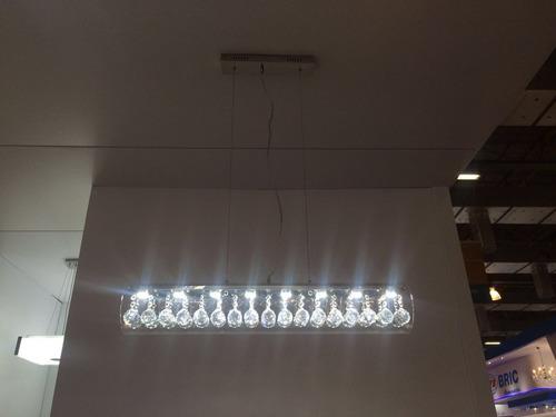 lustre pendente de cristais retangular led 9x3w 90cm
