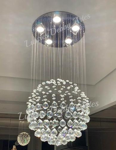 lustre pendente de cristal legítimo bola globo-112 esferas