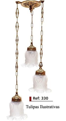 lustre pendente em bronze -3 lâmpadas com tulipa inquebrável