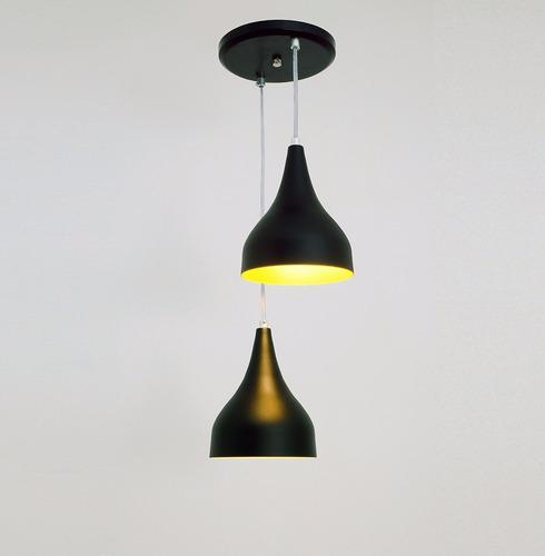 lustre pendente ibiza 2l - preto - auremar -varias cores