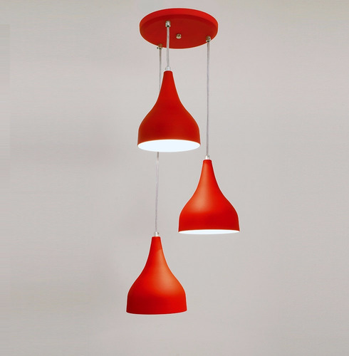 lustre pendente ibiza 3l - vermelho - amarelo -varias cores