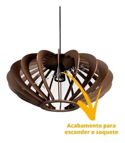 lustre pendente madeira marrom rústico 40cm cozinha sala