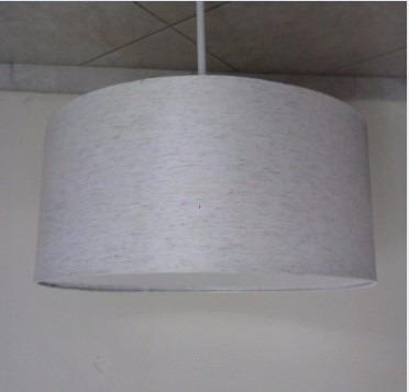 lustre pendente moderno ø45 cúpula cilíndrica em linho