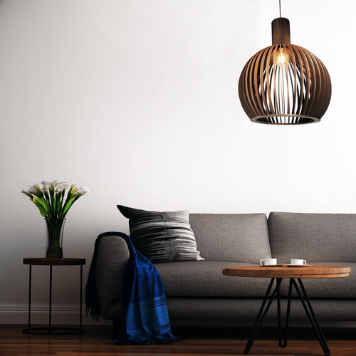 lustre pendente octo grande de madeira 45x56cm c/ soq. e-27