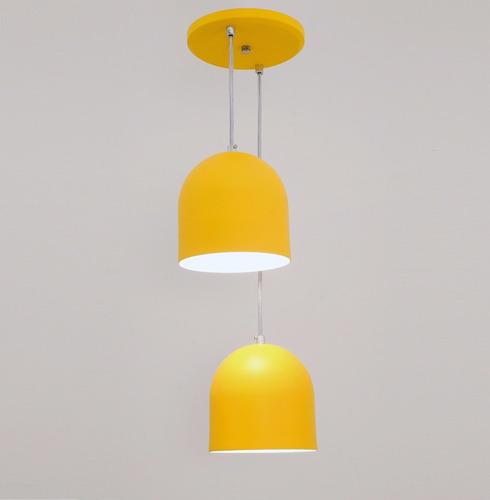 lustre pendente sevilha 2l - amarelo - auremar -varias cores