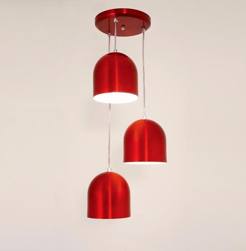 lustre pendente sevilha 3l - vermelho- auremar -varias cores