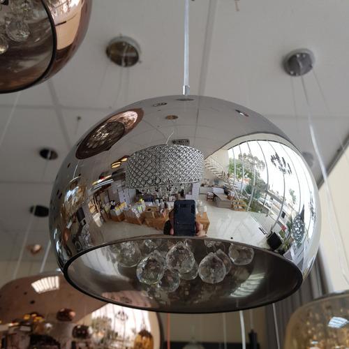 lustre pendente vidro cristais legítimos 22cm cromado - b06c