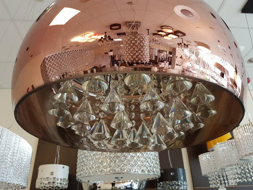 lustre pendente vidro cristais legítimos 50cm cobre pd019cb