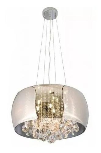 lustre pendente vidro cristais legítimos 50cm cromado pd019