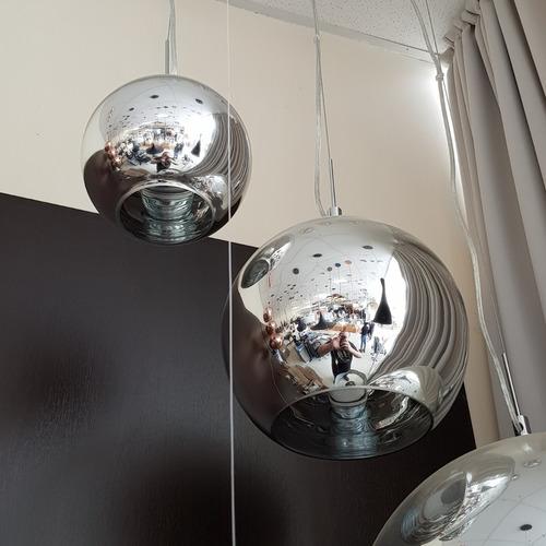 lustre pendente vidro cromado tom dixon - chrome shade ø18cm