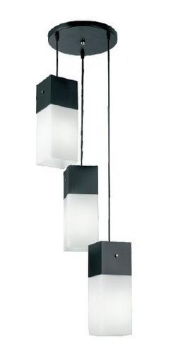lustre pendente vidro e aluminio copo triplo 10cm e27