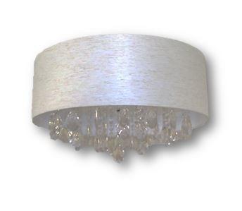 lustre plafon cilindrico 3 luzes com pingentes cristal