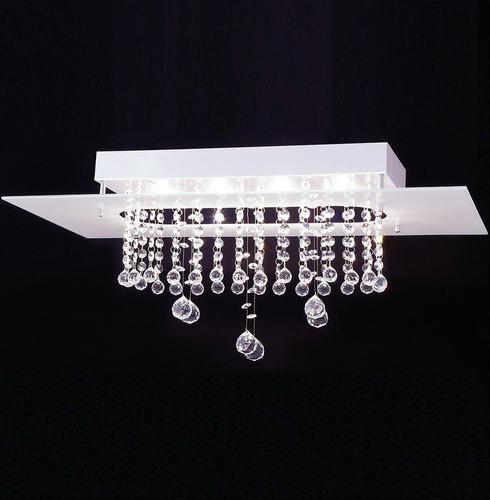 lustre plafon valencia crystal p/ 4 lâmps.- branco - auremar