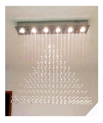 lustre retangular acompanha lampadas cristais legítimos