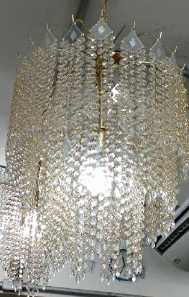 Lustre Sala De Jantar E Estar Dourado Grande R 400 00 Em  -> Lustre Para Sala De Jantar Dourado