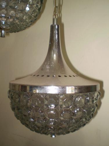 lustre triplo - cristal - cromado-anos 60 / 70