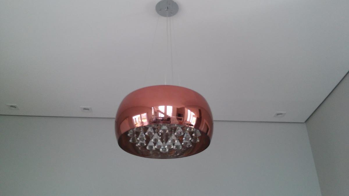Lustre Vidro Espelhado Cobre C Lamp Led Sala Mesa Jantar P R  -> Lustre Sala De Jantar Led