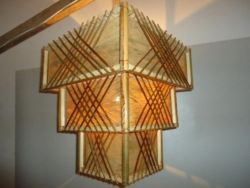 lustre3 partes pano de coco  luminária rustica pico das arte