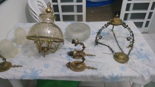 lustres bronze conjunto completo