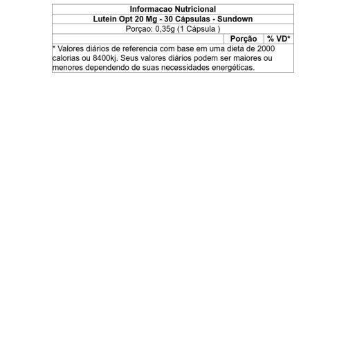 lutein opt 20 mg - 30 cápsulas - sundown