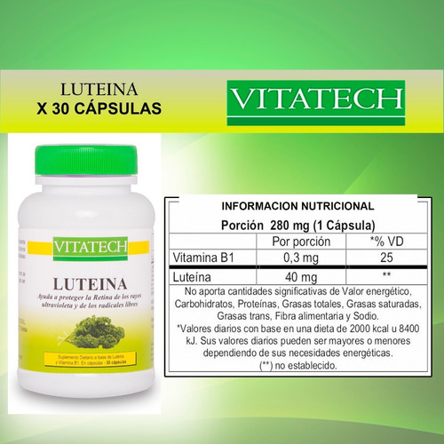 luteína vita tech x 30 cápsulas