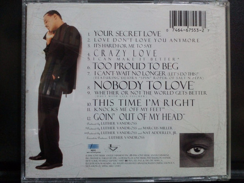 luther vandross your secret love cd semnuevo 1ra ed 1996 usa