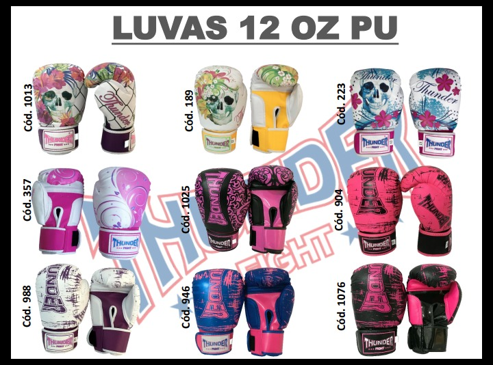 f03616221 Luva Boxe Muay Thai Thunder Fight 12oz - R  159
