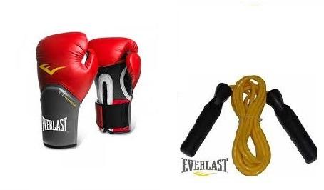 edaa8ec266 Luva Boxe Pro Style Everlast Vermelha Brinde Corda Everlast - R  154 ...