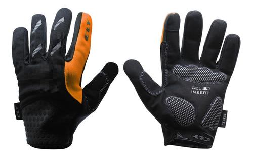 luva calypso dedo longo gel smart touch bike mtb laranja