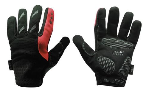 luva calypso dedo longo gel smart touch bike mtb vermelho